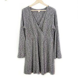 Heather Gray Wide Bell Sleeve Mock Wrap Mini Dress